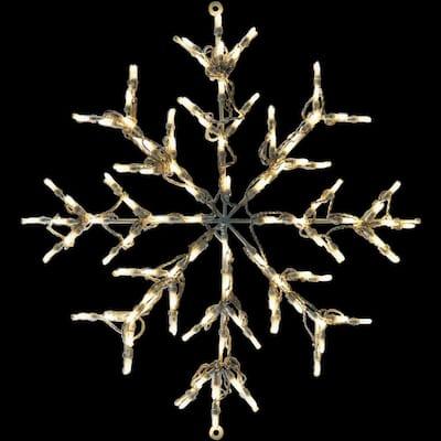 2.5 ft. 100-Light LED Warm White Snowflake Novelty Light