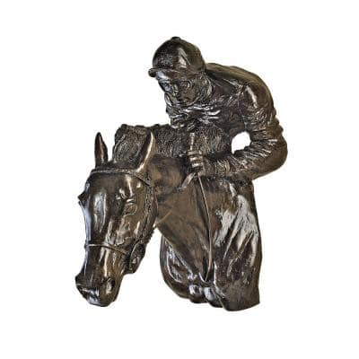 12 in. x 6 in. Racing the Wind Horse and Jockey Wall Sculpture