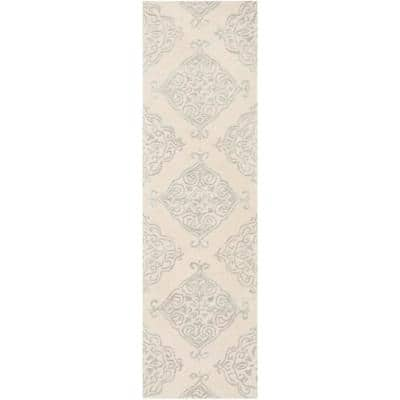 Glamour Ivory/Silver 2 ft. x 8 ft. Floral Runner Rug