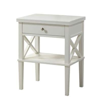 Marta 1-Drawer White Nightstand