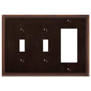 Rhodes 3 Gang 2-Toggle and 1-Rocker Metal Wall Plate - Aged Bronze