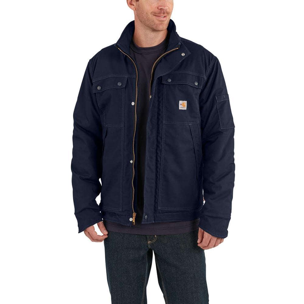 Carhartt Men S 2x Large Dark Navy Cotton Nylon Fr Full Swing Quick Duck Coat 102182 410 The Home Depot [ 1000 x 1000 Pixel ]