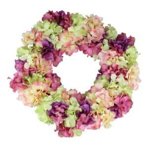 18 in. Pink and Purple Hydrangea Springtime Floral Wreath