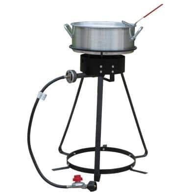 24 in. Bolt Together Propane Gas Outdoor Cooker with 10 qt. Aluminum Fry Pan and Basket