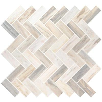 Angora Herringbone 12 in. x 12 in. x 10 mm Polished Marble Mesh-Mounted Mosaic Tile (1 sq. ft.)