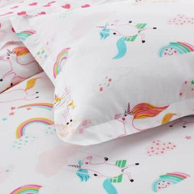 Playful Unicorn Multicolored Graphic Organic 200-Thread Count Cotton Percale Standard Sham