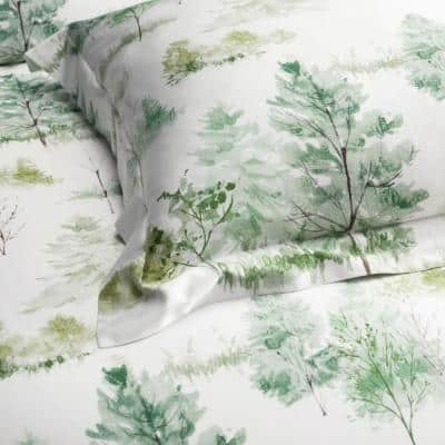 Company Cotton Lakeview Multicolored 300-Thread Count Bamboo Sateen Fitted Sheet