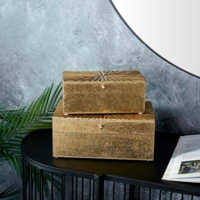 Gold Contemporary Wood Boxes Wood (Set of 2)