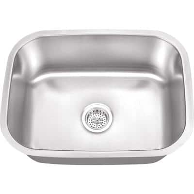 Undermount 16-Gauge Stainless Steel 23-1/4 in. 0-Hole Bar Sink in Brushed Stainless
