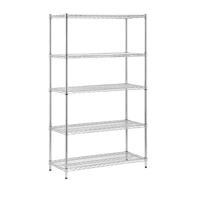 Chrome 5-Tier Metal Wire Shelving Unit (18 in. W x 72 in. H x 42 in. D)