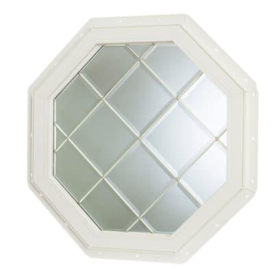 22.5 in. x 22.5 in. Fixed Octagon Geometric Vinyl Window - White