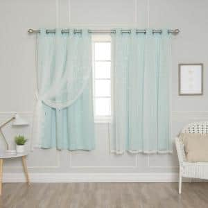 Mint Grommet Overlay Blackout Curtain - 52 in. W x 63 in. L (Set of 2)