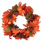 13 in. Unlit Orange Pumpkin and Autumn Harvest Thanksgiving Wreath