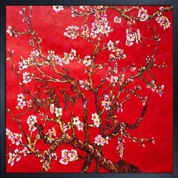 La Pastiche Branches Of An Almond Tree In Blossom Ruby Red With Studio Black Wood Frame By La Pastiche Originals Oil Painting Vg2305 Fr 15824x24 The Home Depot