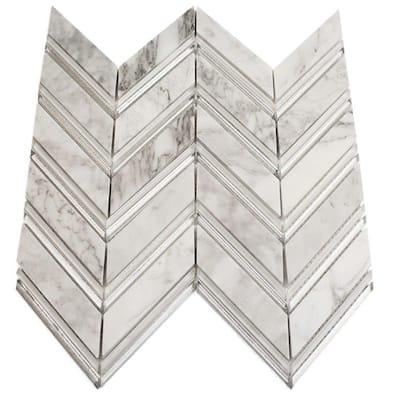 Royal Herringbone Winter Polished Marble Floor and Wall Tile - 3 in. x 6 in. Tile Sample