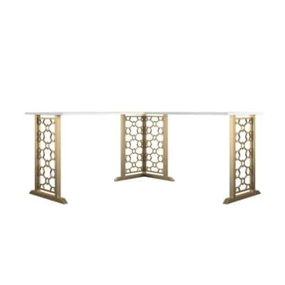 Ella 59.61 in. L-Shaped Desk White with Gold Legs