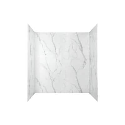 Passage 32 in. x 60 in. 4-Piece Glue-Up Alcove Bath Wall in Serene Marble