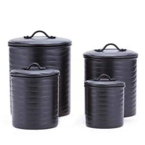 4-Piece Wave in Matte Black Stainless-Steel Canister Set with Fresh Seal Covers