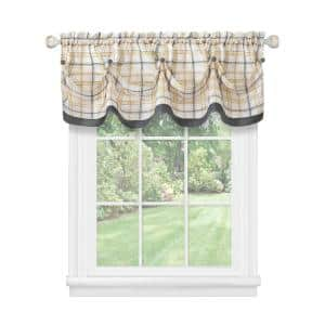 Tattersall 14 in. L Polyester Window Curtain Valance in Grey