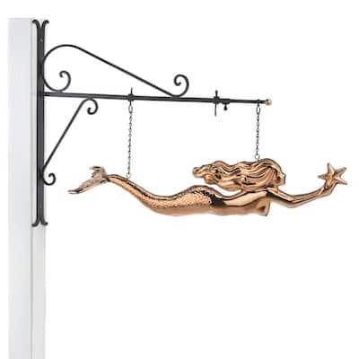 Mermaid Copper Hanging Wall Sculpture - Nautical Home Decor