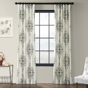 Kerala Cocoa Floral Rod Pocket Room Darkening Curtain - 50 in. W x 84 in. L