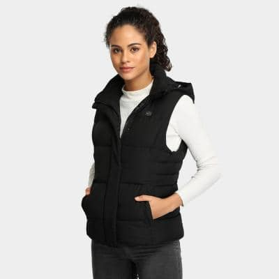 Women's Black 7.4-Volt Lithium-Ion Heated Down Vest with 90% Down Insulation and One 5.2 Ah Battery Pack