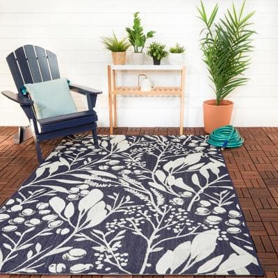 Berry Leaves Navy 8 ft. x 10 ft. Floral Indoor/Outdoor Area Rug