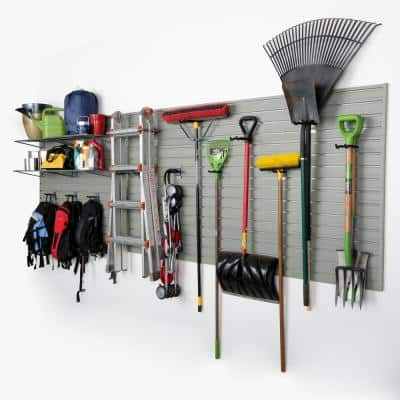 Modular Garage Wall Panel Storage Set with Accessories in Silver (15-Piece)