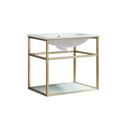 Pierre 23.6 in. W x 23.6 in. H Bath Vanity in Gold with Ceramic Vanity Top in White with White Basin