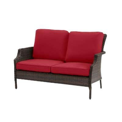Grayson Brown Wicker Outdoor Patio Loveseat with CushionGuard Chili Red Cushions