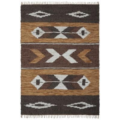 Brown Leather Panel 9 ft. x 12 ft. Area Rug