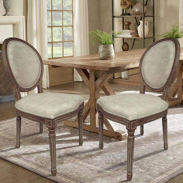 Lux Home Louis Beige Wooden Round Back, King Louis Dining Room Chairs