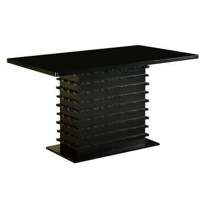 Renee Black Wood Pedestal Dining Table