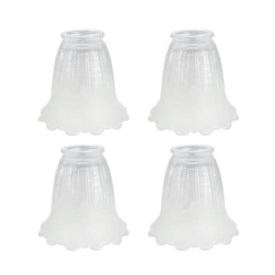 4-1/2 in. Clear and Frosted Ceiling Fan Replacement Glass Shade (4-Pack)