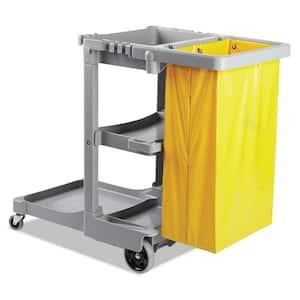 22 in. W x 44 in. D x 38 in. H Gray Polyethylene Janitor Cart (3-Shelf)