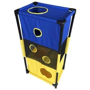 Blue and Yellow Kitty-Square Obstacle Soft Folding Sturdy Play-Active Travel Collapsible Travel Pet Cat House Furniture