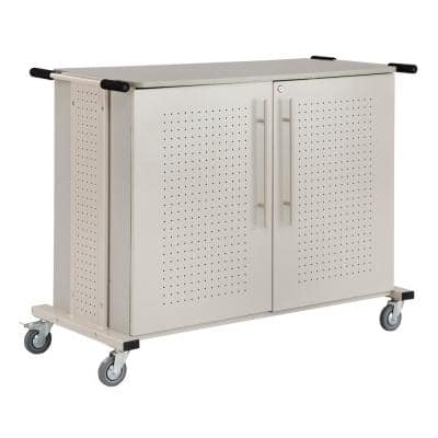 Metal Mobile Laptop Cart in Tan