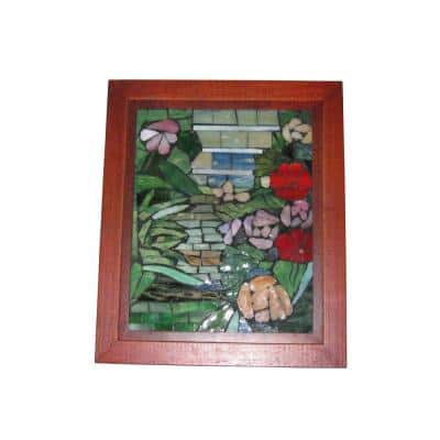 Springdale 10 in. H Floral Path Mosaic Art Glass Wall Panel