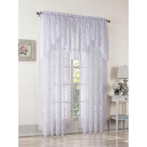 White Solid Lace Rod Pocket Sheer Curtain - 58 in. W x 63 in. L