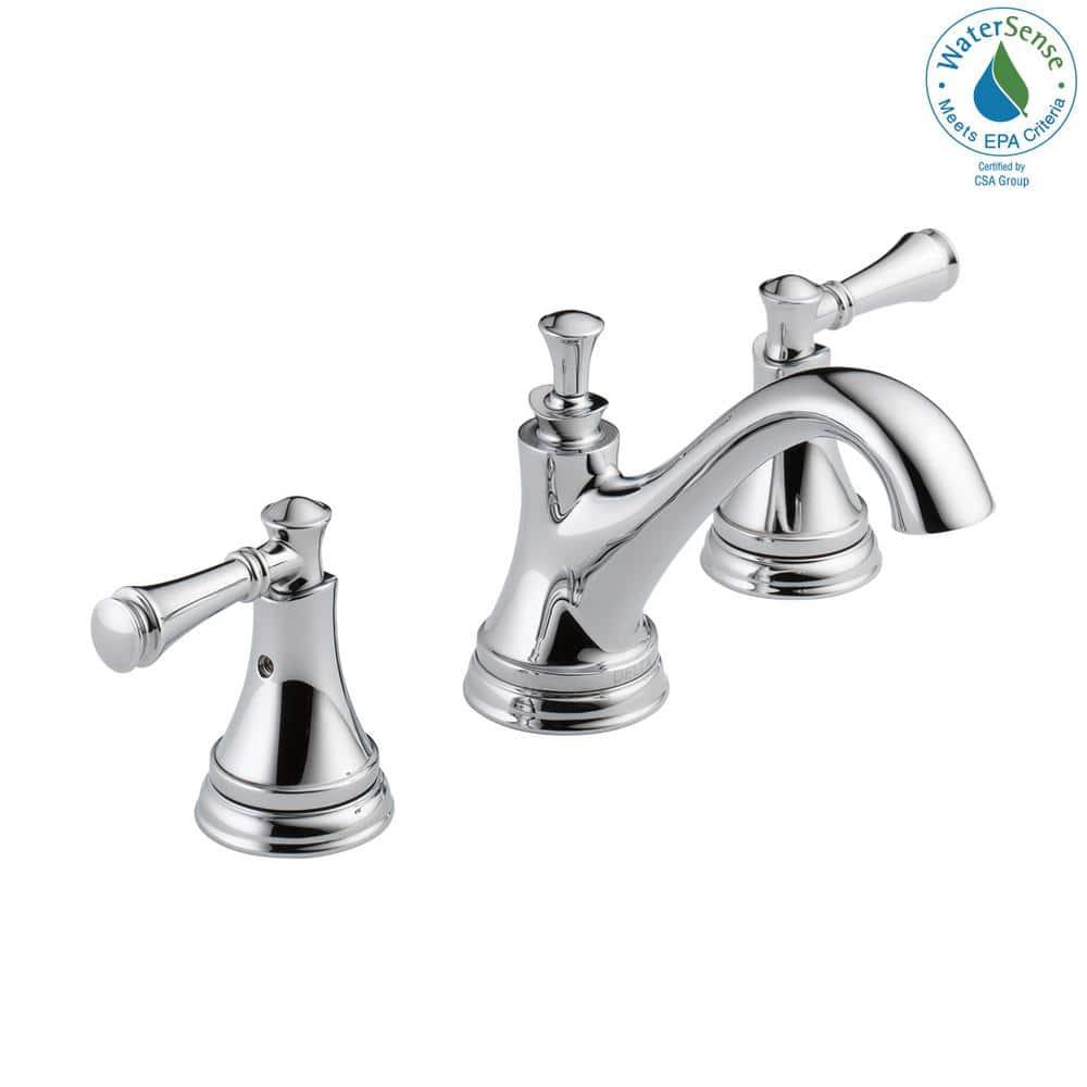 Delta Silverton 8 In Widespread 2 Handle Bathroom Faucet In Chrome 35713lf Eco The Home Depot