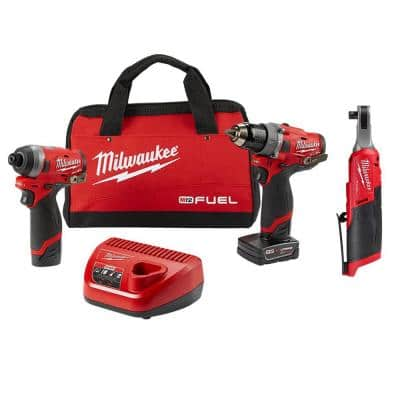 M12 FUEL 12-Volt Lithium-Ion Brushless Cordless Combo Kit (2-Tool) with 3/8 in. High Speed Ratchet