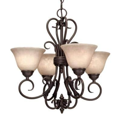 Homestead Collection 4-Light Rubbed Bronze Chandelier