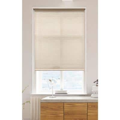 Roller Shades Linen Cordless Light Filtering Natural Fiber Fabric 55 in. W x 72 in. L