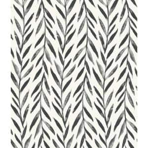 Willow Black Paper Pre-Pasted Washable Wallpaper Roll (Covers 56 Sq. Ft.)