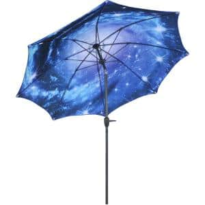 8 ft. Market Style Push Button Tilt and Crank Inside Out Starry Galaxy Design Outdoor Patio Umbrella in Blue