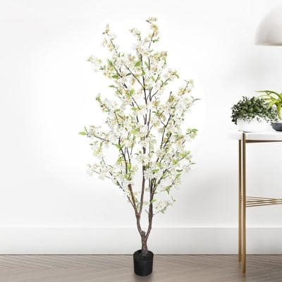 5.5 ft. Artificial Cherry Blossom Flower Tree in Pot