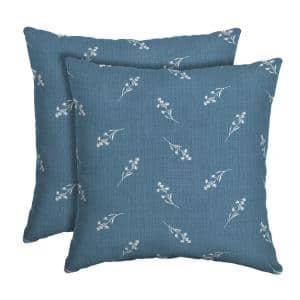 16 in. x 16 in. Blue Ditsy Floral Outdoor Square Pillow (2-Pack)