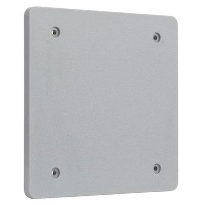 Gray 2-Gang Non-Metallic Weatherproof Blank Cover