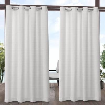 Aztec White 54 in. W x 108 in. L Grommet Top, Indoor/Outdoor Curtain Panel (Set of 2)