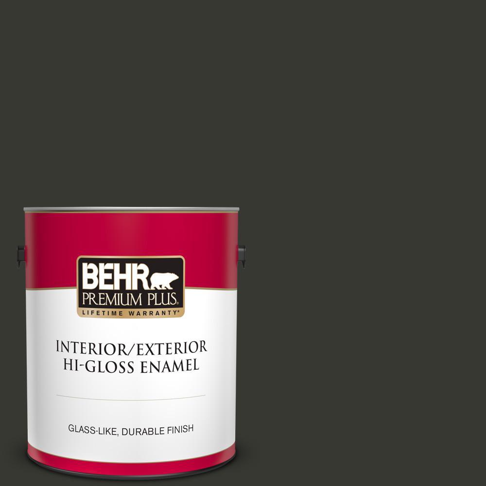 1 gal. #T13-3 Black Lacquer Hi-Gloss Enamel Interior/Exterior Paint